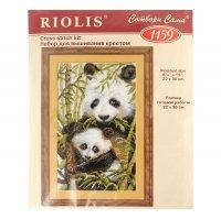 Набор для вышивания крестиком панда с детёнышем  1159