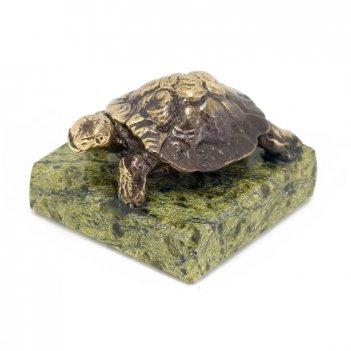Статуэтка черепаха малая бронза змеевик