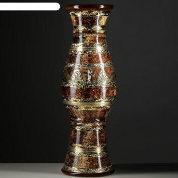 Ваза алексия малахит, коричневая ,золото 100 см