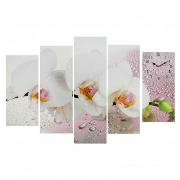 Часы настенные модульные «белая орхидея», 80 x 140 см