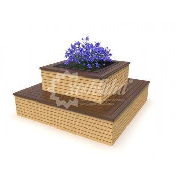 Клумба цветочница со скамьёй ангарская сосна
