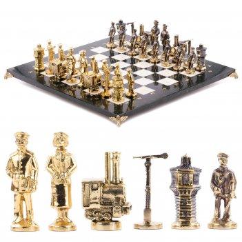 Шахматы железнодорожники змеевик мрамор бронза доска 400х400 мм 10000 гр.