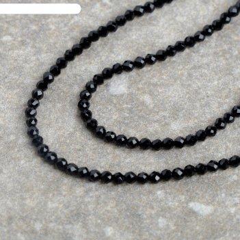 Бусины на нити шпинель №2, цвет чёрный, 38 см