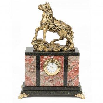 Часы конь креноид статуэтка мрамолит 175х100х245 мм 2750 гр.