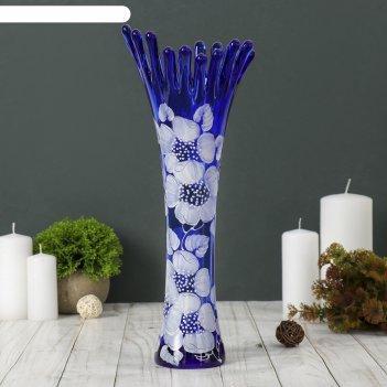 Ваза коралл, синяя, цветы