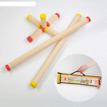 Игра городки, берёза, d=3.5 см, 3 см, l=10.8 см, 56.3 см, чехол микс