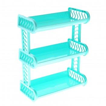 Этажерка пластиковая домашний уют, 3 яруса, цвета микс