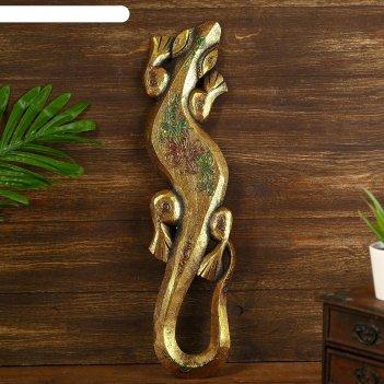 Панно настенное дерево геккон золотистый с зеленым узором 1,2х11х50 см