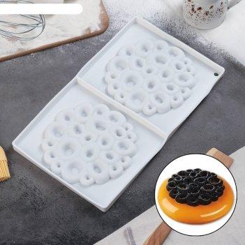Форма для муссовых десертов и выпечки двойная «коралл», 30x17,5 см, цвет б
