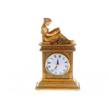Часы настольные юная дева 15*7,5*24,5см. (часы-d=8см., батарей