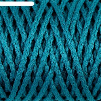 Шнур для вязания без сердечника 100% полиэфир ширина 4мм 100м (морская вол