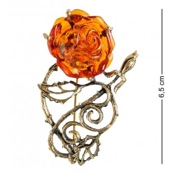 Am-1631 брошь розочка ажурная (латунь, янтарь)