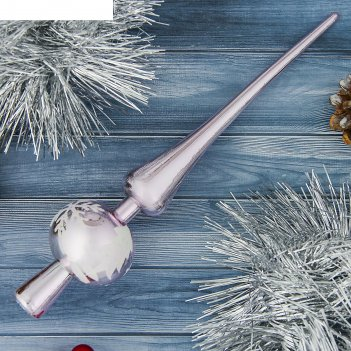 Верхушка на ёлку снежинка розовая