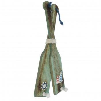 Вешалка вёсла интерьерные на верёвке, 2весла=2крючка, 20х39х5 см