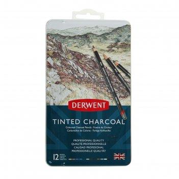 Уголь натуральный в карандаше derwent charcoal набор 12шт, мет.кор. 230169