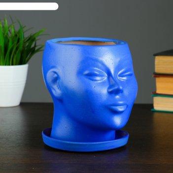 Фигурное кашпо голова синее 14см