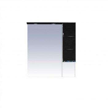 Шкаф-зеркало misty петра 90, правый, с подсветкой, черная эмаль