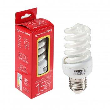 Лампа энергосберегающая старт, e27, 15 вт,  2700 к, 220 в, теплый белый