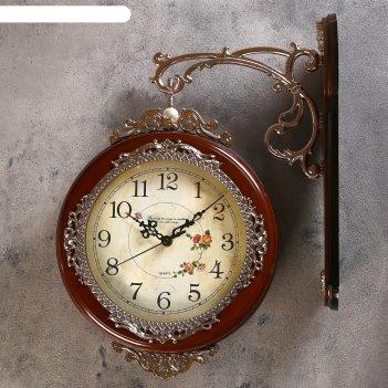 Часы настенные двойные, серия: садовые, розы, коричневые, 33х41 см