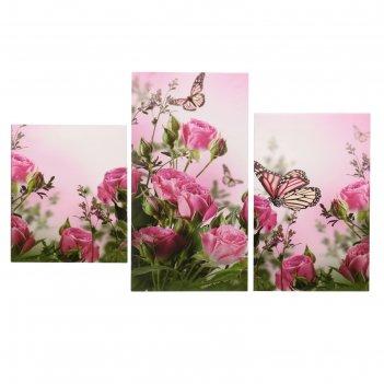 Картина модульная на подрамнике  бабочки в розах  29х35см, 29х44,5см, 29х5