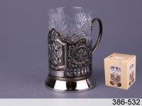 Стакан хрустальный с подстаканником никел. с чернью герб ро