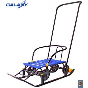Снегомобиль snow galaxy black auto синие рейки на больших мягких колесах