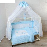 Комплект в кроватку котик (7 предметов), цвет голубой 7060гол