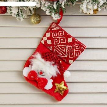 Носок для подарка снеговик (красный узор)