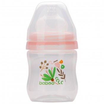 Бутылочка baboo с соской силик. (широкая)  130 мл. flora, 0 мес+