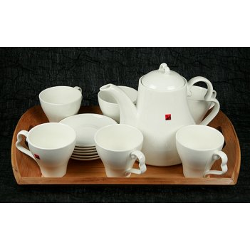 Подарочный чайный набор на бамбуковой подставке на 6 персон