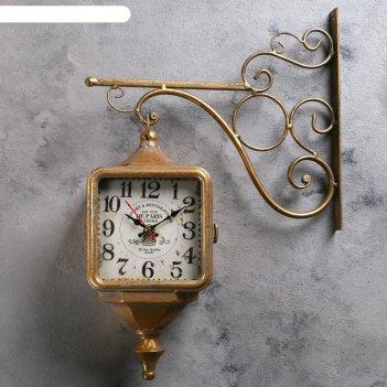 Двойные настенные часы, форма квадрат, циф-т 13*13, цвет состаренное золот