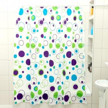 Штора для ванной 180x180 см круги, peva