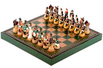 Шахматы 35х35 бородино от italfama (дерево, кожа, бронза, олово)