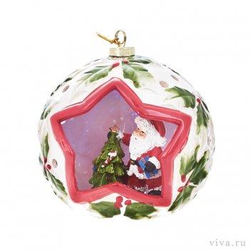 Новогодняя композиция в шаре 14 см с подсветкой  «дед мороз»