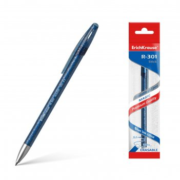 Ручка гелевая пиши-стирай erich krause r-301 magic gel, узел 0.5 мм, черни