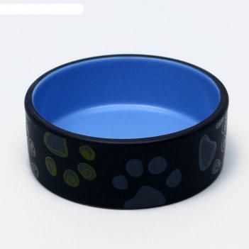 Миска керамическая лапы, 13,2 х 5,4 см, голубая