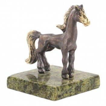 Статуэтка лошадка змеевик бронза 60х50х65 мм 125 гр.