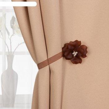Подхват (1) для штор на ленте (1шт) цветок нежный d6см коричневый ау
