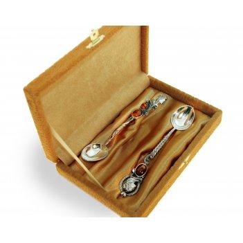 Набор серебряных ложек петр и екатерина с янтарем