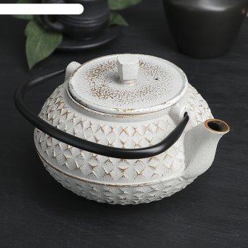 Чайник с ситом 900 мл жангали, цвет белый