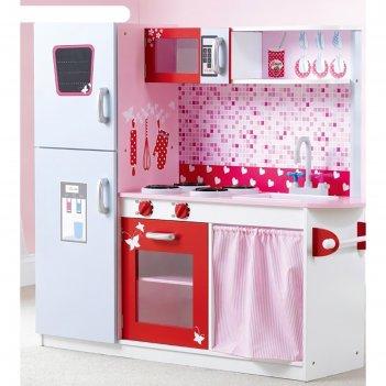 Детская игровая мебель из дерева кухня розовая