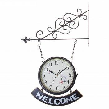 Часы настенные двойные, серия: садовые, welcome, d=20 см микс