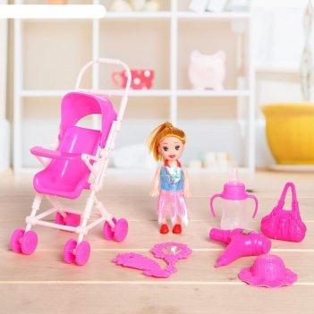 Кукла малышка ляля в коляске, с аксессуарами, микс