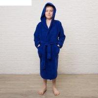 Халат махровый детский, размер 34, цвет синий, 340 г/м2 хл.100% с airo