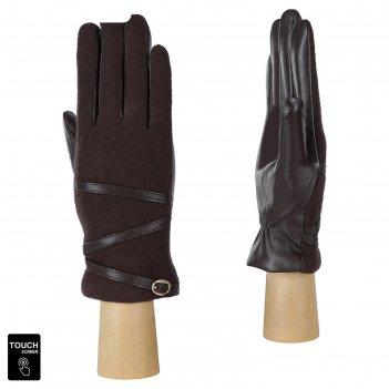 Перчатки женские натуральная кожа/шерсть (размер 6.5) коричневый