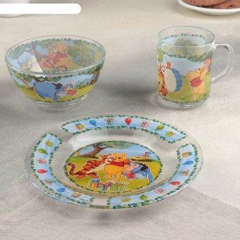 Набор посуды детский винни пух, 3 предмета