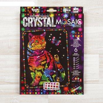 Набор для создания мозаики кот и бабочка crystal mosaic, на тёмном фоне