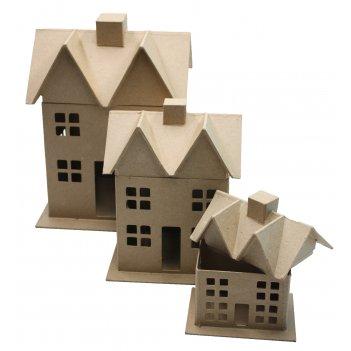Набор из 3-х домиков из папье-маше, макс. 30,5 х 22,8 х 19 см