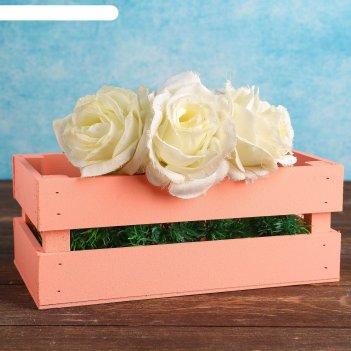 Ящик-кашпо двушка, большой, персиковое, 24,5х13,5х9см