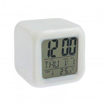 Часы-будильник в резиновом корпусе, дата, t, белый
